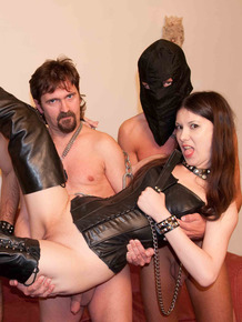 Femdom mistress Sarah Dark in boots gets ass fucked in slave training 3some