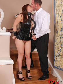Collared and chained Asian sex slave Tigerr Benson undergoing BDSM session
