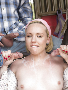 Blonde farm girl Miley May sucking off three men for facial cumshots