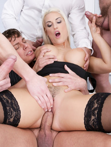 Hot blonde Blanche Bradburry gets double fucked while banging 3 men at once