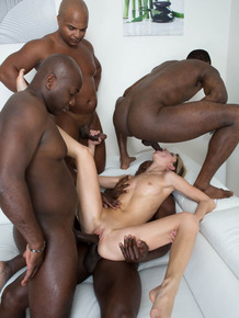 Dirty blonde girl Gina Gerson does her first interracial gangbang