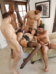 Slutty wife Bianca Breeze does a gangbang while her hubby is out of town