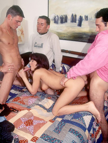 Seventies female Jenny Fields pleasures three guys at once with a DP too