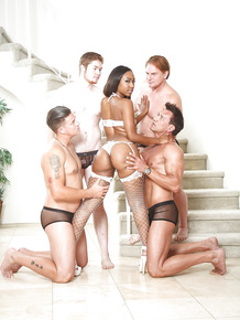 Hot black chick Chanell Heart banging a group of white hunks at same time