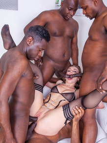 Pornstar Liberta Black is covered in cum after an interracial gangbang