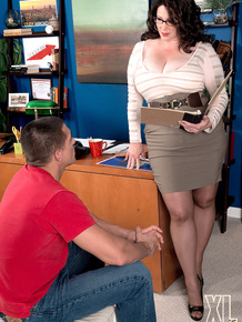 Fat boss lady Jasmine Jones seduces a younger employee in her office