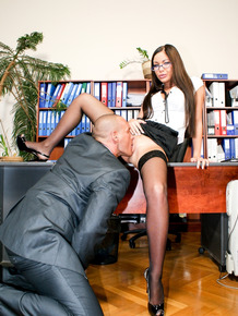 Tall boss lady Angelica Heart takes an employee's dick up her filthy asshole