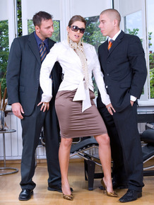 Horny anal businesswoman fucks her two handsome colleagues at the office