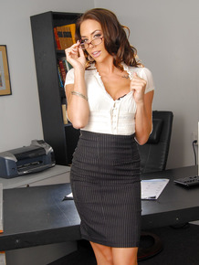 Hot secretary Chanel Preston in tight skirt & hot lingerie fucking in office