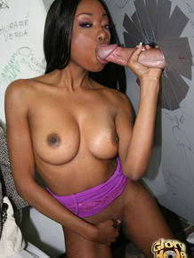 Black dime Courtney Fox finds a white dick at a gloryhole to her liking