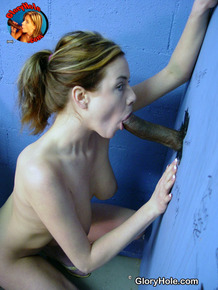White girl Natalie Knoxxx finds herself going 1 on 1 with a gloryhole dick