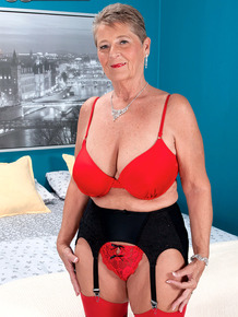Horny oma Joanne Price rides on top of Latino toy boy's dick in nylons