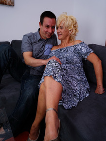 Fiesty ld oma kissing her boy toy before getting some young cock in her hole