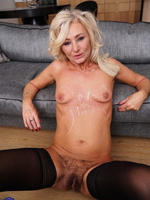 Horny granny sports a pearl necklace after entertaining a group of men