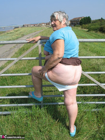 Fat old woman Grandma Libby exposes herself on a desolate bike path