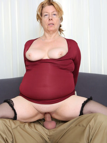 Aged BBW Penny Sue gets a facial after hiking her red dress and getting banged