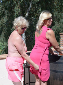 Overweight mature lesbians fondle each others tits and ass in sunglasses