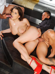 Busty beauty gets double fucked by two guys in a MMF threesome