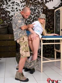 European military nurse Lola Taylor licks ass and cock during hardcore sex