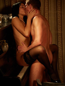 Classy slut in sexy lingerie fucking doggystyle in romantic candlelight