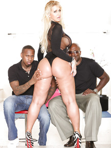Blonde MILF in heels with huge ass sucks BBC & eats cum in interracial fuck