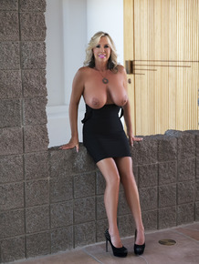 Hot blonde wife shows her big tits before sucking a pulsating schlong