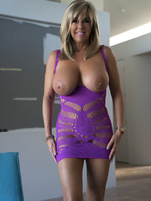 Lady with enormous breasts poses, fucks and tastes cum of the guy with camera