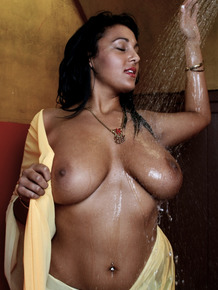 Indian solo girl Keira wets her beautiful breasts in the shower