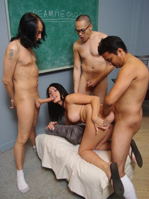Brunette student chick with nice tits banged by three coeds in the classroom