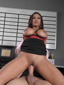 MILF business woman Priya Anjali Rai catches cum on her big tits at work