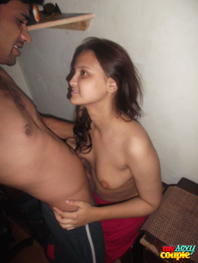 Desi female with small tits prepares to go down on her husband