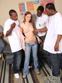 Adorable redhead chick Christine Michaels goes enjoys 3 on 1 interracial sex