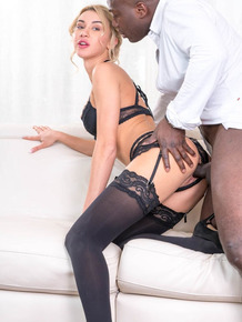 Hot blonde Katrin Tequila does anal with a big black cock in black stockings