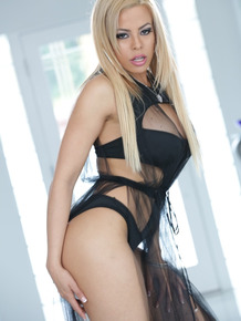 Blonde Latina Luna Star strips and oils herself to tease your imagination