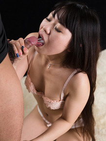 Cute little Japanese girl Arimura Chiho on her knees giving a blowjob
