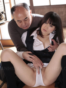 Japanese girl An Kanoh has her pussy rubbed by old man thru her cotton panties