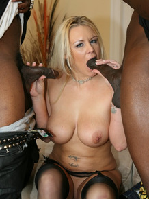 Blonde wife lives out fantasy of fucking 2 black men at the same time