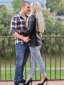 Dirty blonde in jeans and heels hooks up with her date before riding his dick