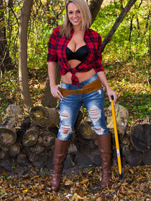 Big boobed Nikki Sims is on of the hottest female lumberjacks around
