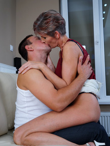 Thin grandmother and her boy toy get ready to fuck after kissing and foreplay