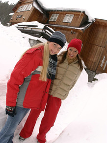 Lesbian girls kiss and lick pussies outdoors on a winter's day in toques