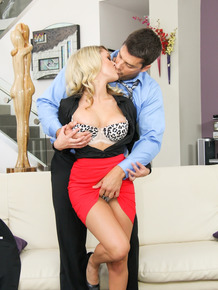Busty blonde female Chloe Addison seduces her man's friend in a red skirt