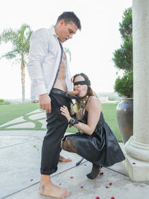 Blindfolded slave slut Jenna Ross in black stockings fucked hard doggystyle