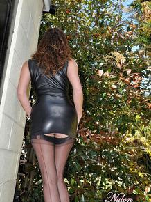 Slutty Nylon Jane loves wearing sexy tight latex dress in public