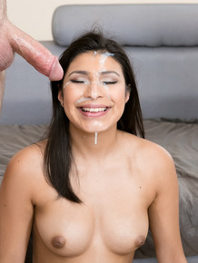 Topless Latina girl Miya Stone gets cum dumped on her pretty face