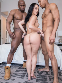 Brunette Kristina Rose satisfies two big black cocks with a double penetration