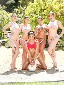 Hot oiled volleyball girls show hard nipples and toned ass in the sunshine