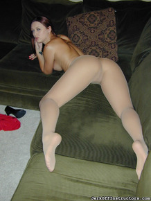 Sexy redhead Karlie Montana issues jerk off instructions in pantyhose