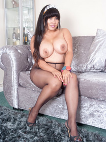 Hot busty fatty Amy Latina toys her BBW pussy topless in crotchless pantyhose