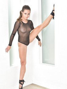 Sexy ballerina Cassidy Klein sheds her sheer bodysuit to pose naked in points